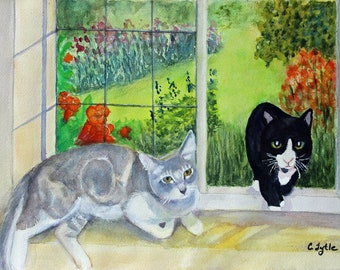 Garden Cats Original Watercolor Painting Cat Art Giclee Prints Notecards Canvas Wraps Glass Magnets Gifts Carol Lytle Free Shipping # 181