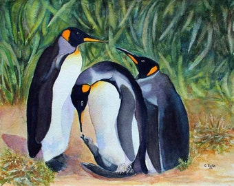 Patagonian Penguins Watercolor Original Painting Giclee Prints Wraps Note Cards Magnet Gifts  Carol Lytle Lytlebitartistic Free Shippng #139