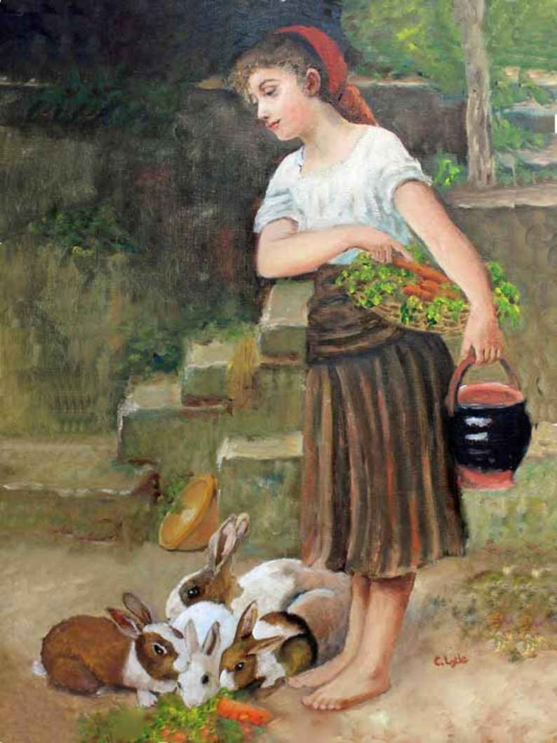 Oil on Canvas Painting Emile Munier Reproduction Feeding the image 0