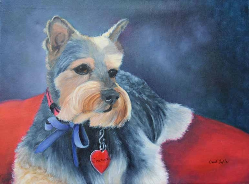 Yorkshire Terrier Dog Art Oil Painting Original Art Pet image 0