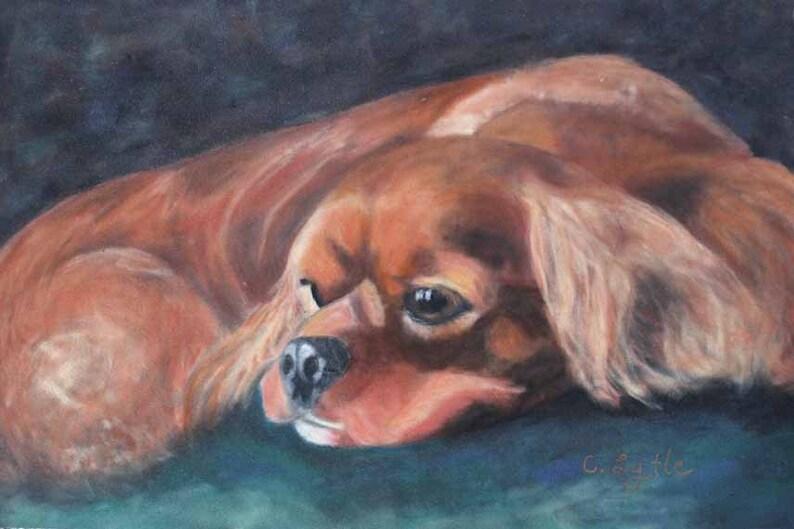 Cavalier King Charles Spaniel Pastel Art Original Painting Dog image 0
