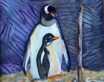 Gentoo Penguin Antartica Original Watercolor Painting Bird Art Giclee Print Notecard Canvas Wraps Magnet Gift Carol Lytle Free Shipping #174