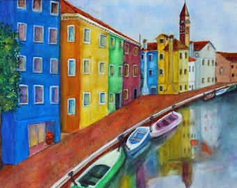 Murano Italy Original Watercolor Italian Waterfront Giclee Prints Canvas Wraps Notecards Magnet Gift Ideas Carol Lytle Free Shipping  #175