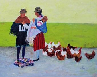 Saquisili Market Ecuador Oil Painting Original Art Giclee Prints Notecards Glass Magnet Canvas Wraps Gifts Carol Lytle Free Shipping # 180