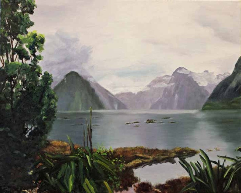 Landscape Painting Oil Painting Giclee Print Milford Sound image 0