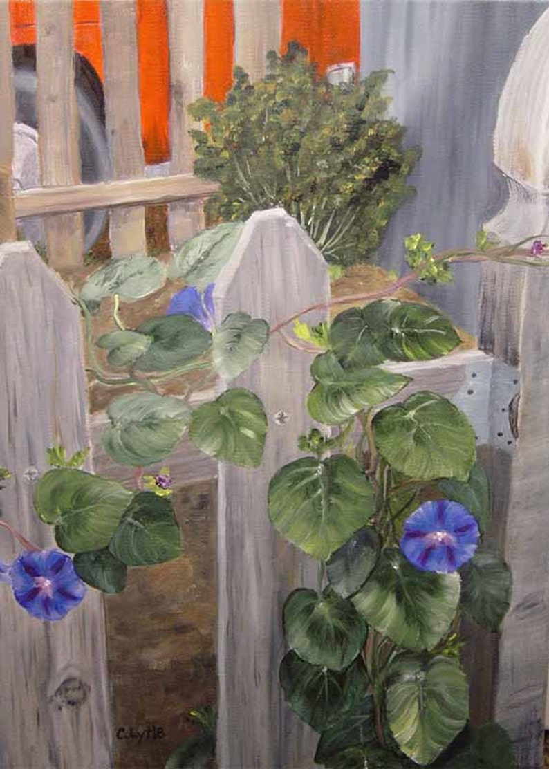 Morning Glory Oil Painting Original Art Canvas WrapsLandscape image 0