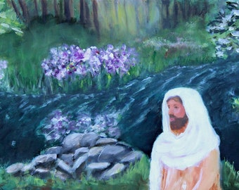 Original Oil Painting River Creek Spring Time Jesus Christ Giclee Prints Notecards Magnet Canvas Wraps Gifts Carol Lytle Free Shipping # 176