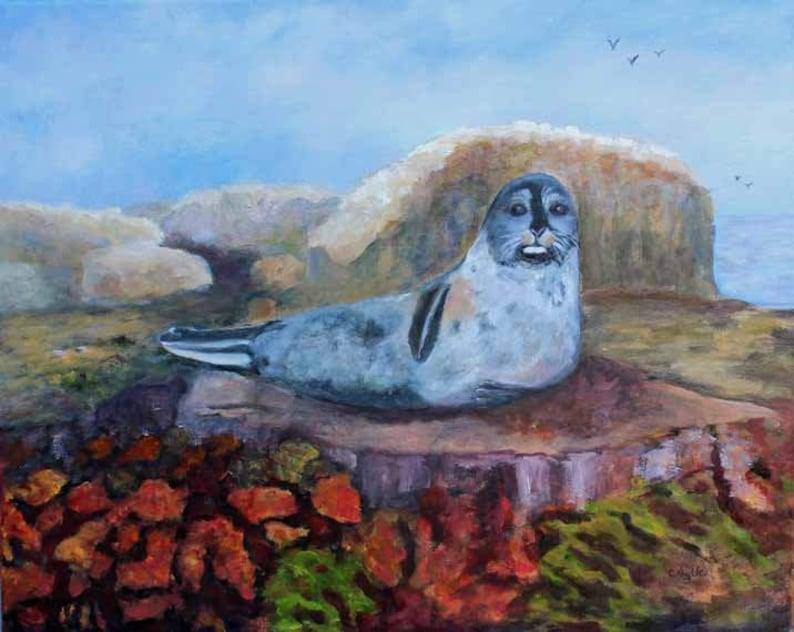 Sea Lion British Columbia  Original Oil on Canvas Oil Painting image 0