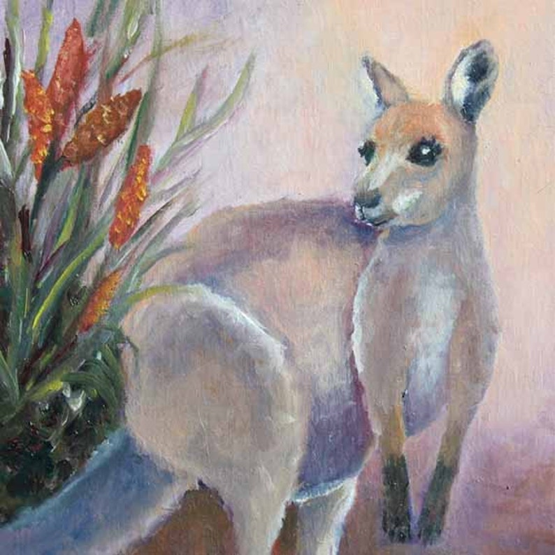 Wallaby Oil on Canvas Original painting Prints  Giclee Prints image 0