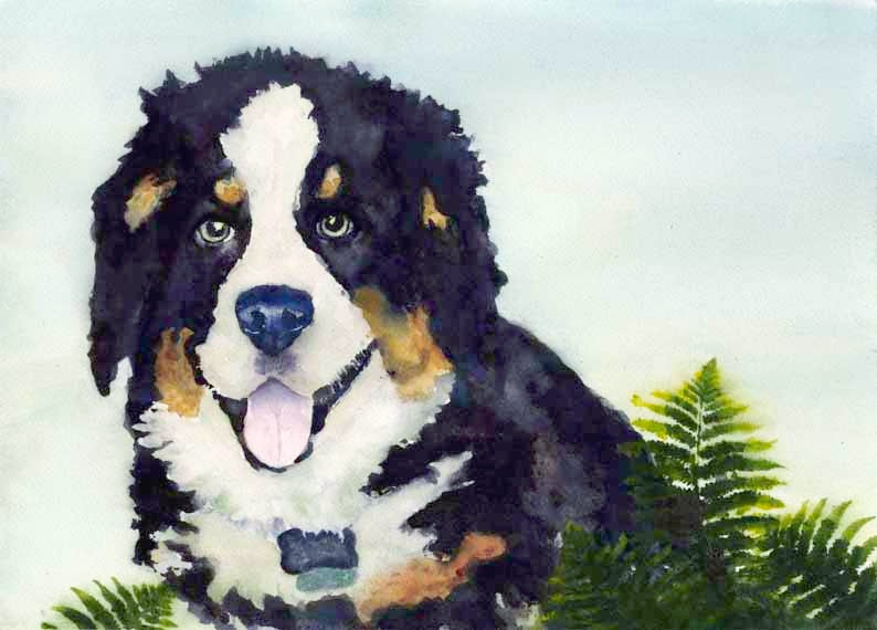 Bernese Mountain Dog Watercolor Painting Watercolour Art image 0