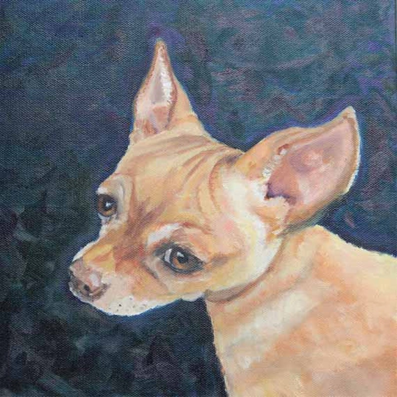 Chiweenie Pet Portrait Oil on Canvas Art Print Giclee Prints image 0