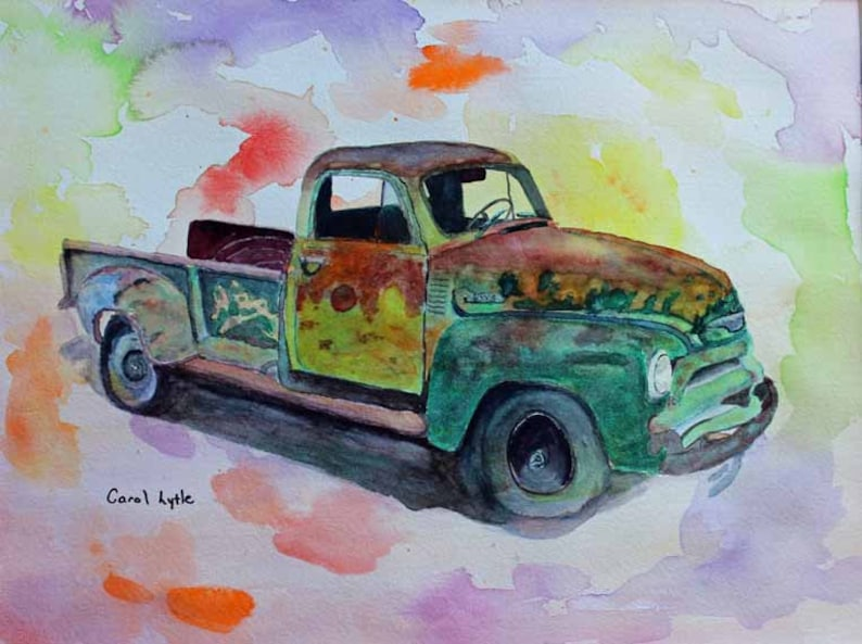 Truck Painting Watercolor Painting Original Watercolor Art image 0