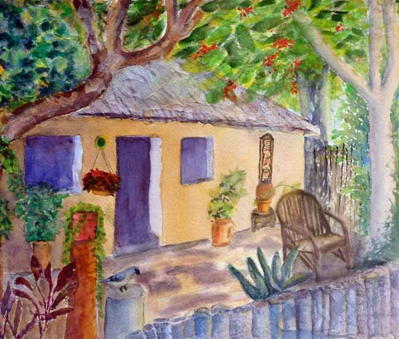 Mexican Cottage Original Watercolor Painting Watercolor Art image 0
