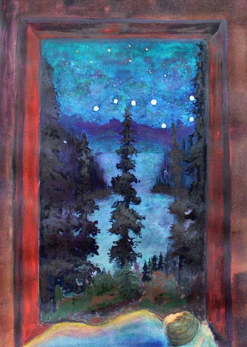 Landscape Painting Watercolor painting Watercolor Art Night image 0