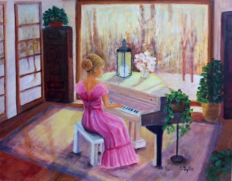 Original Oil on Canvas Oil Painting Music Piano Giclee Print image 0