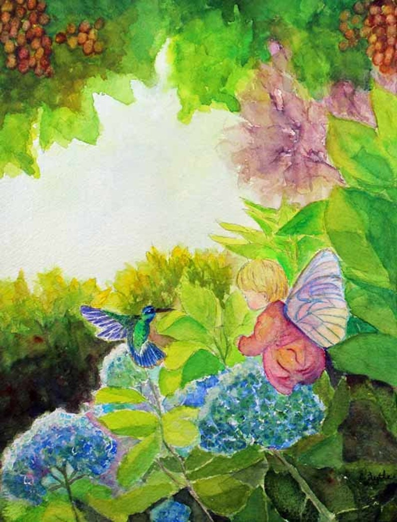 Fairy painting Hummingbird Watercolor Painting Art Magnets image 0