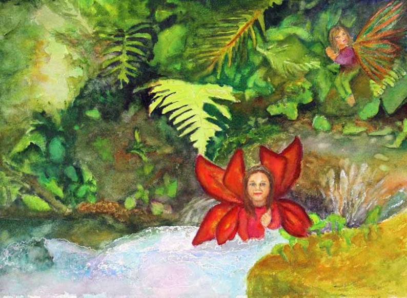 Fairy Fantasy Painting Watercolor Painting Art Landscape image 0