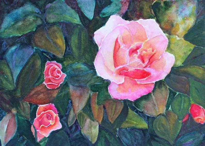 Rose Watercolor Painting Watercolor Art Flower Art Original image 0