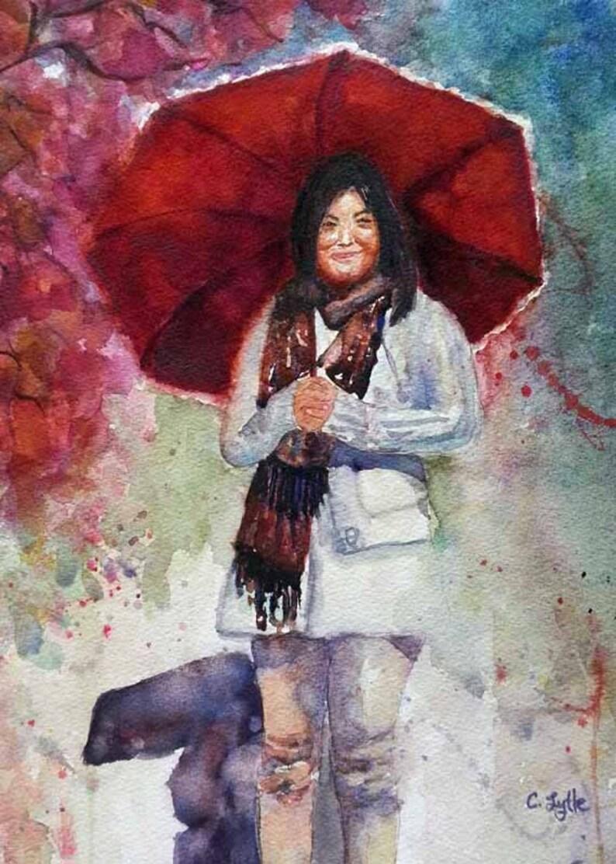 Umbrella Original Watercolor Painting Watercolor Art Prints image 0