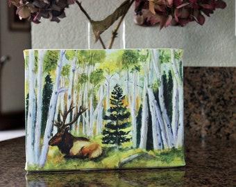 Original Watercolor Landscape painting Elk Art Aspen grove Canvas Wrap Giclee Print GiftsCarol Lytle Lytlebitartistic Free Shipping # 119