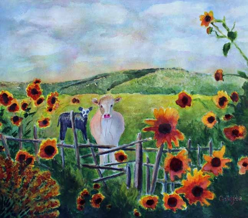Watercolor Art Watercolor Painting Cow Sunflowers Cow Art image 0