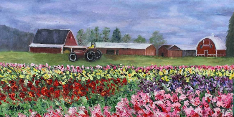 Landscape Painting Tulips Barn Oil Painting Original Art image 0