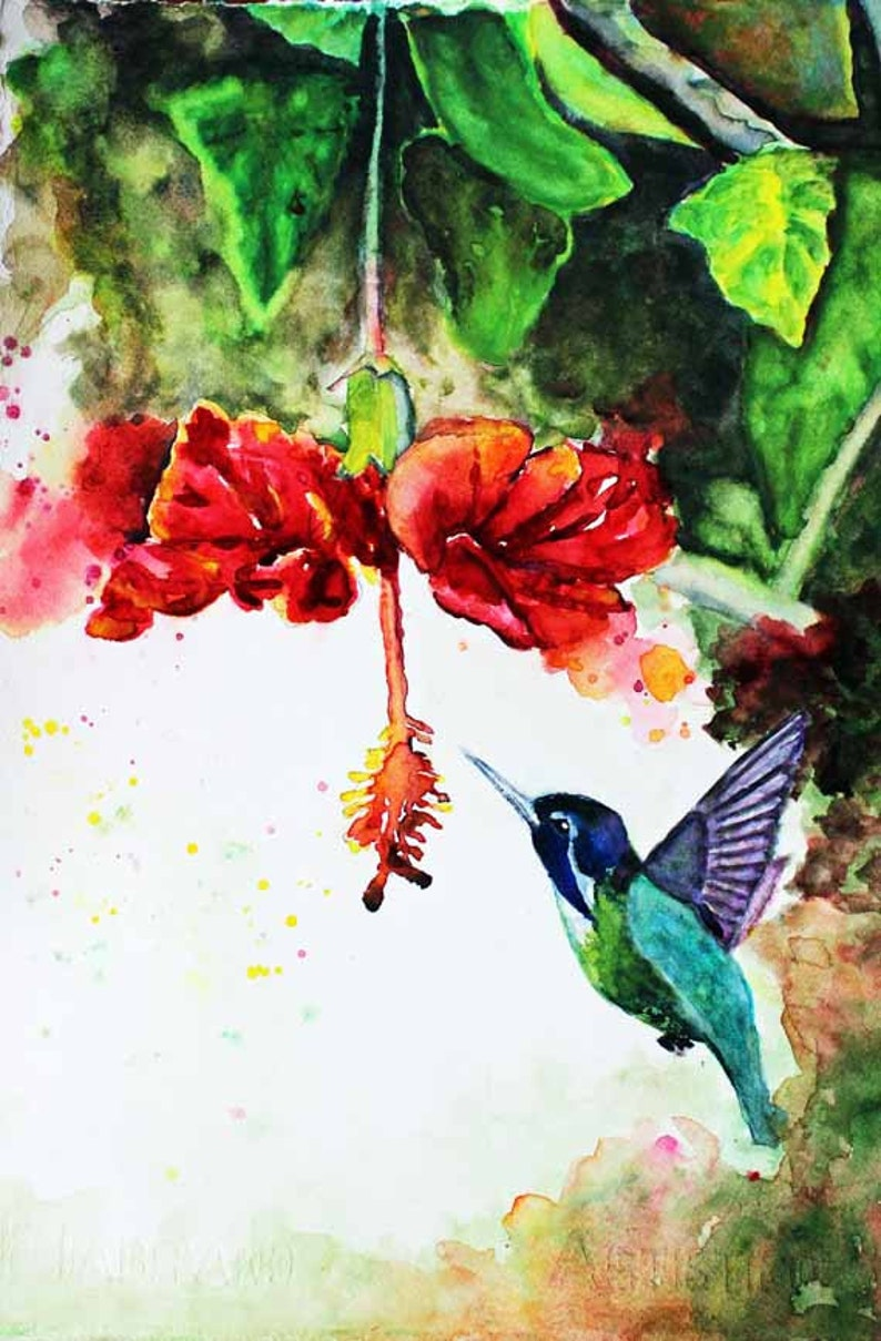 Hummingbird Watercolor Painting  Bird Painting Watercolor Art image 0