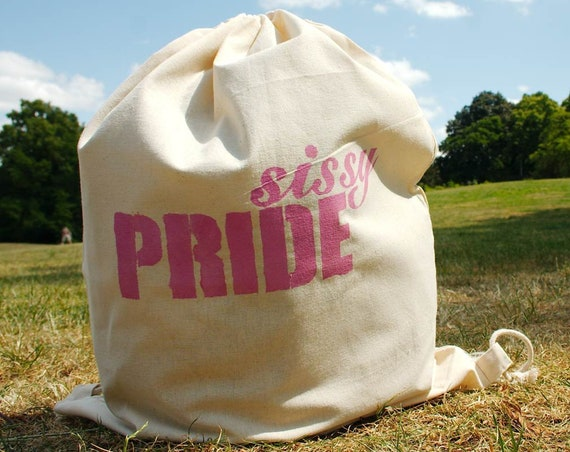 "Great gym bag / backpack ""sissy PRIDE"", hand-printed by me, cotton, gym bag with statement, LGBTQ - Pride not only for the CSD"