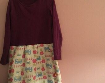 Kleid dress jurk 116 122 vintage upcycling 70er Kinderkleidung Elefanten 5Y - 7Y