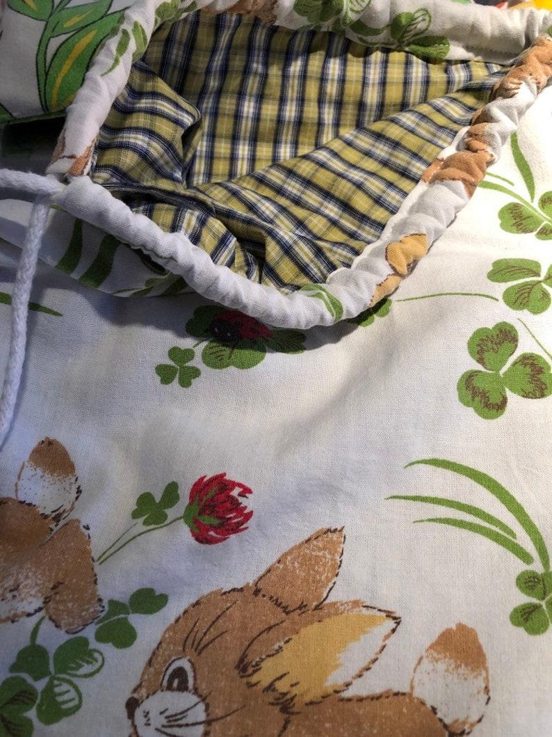 Kinderrucksack turnbeutel rucksack vintage upcycling kidsstyle hase kidsfashion 70er bunny