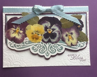 FREE GIFT with purchase Real Pressed Pansies Pansy Card Pretty Ribbon Blackberry on Cream Thank You Card Die Cutting Paper Embossing