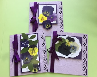 Set of 3 Pansy Greeting Cards in Pretty Purples, Handmade with Reproduction of Real Pansies, Embellished with Die Cutting & Paper Embossing