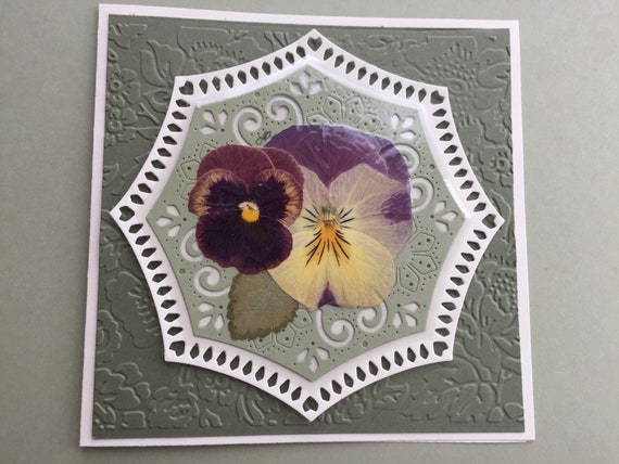 FREE GIFT with purchase Purple Pansy Blank Greeting Card Embellished with Die Cutting and Paper Embossing Featuring Real Pressed Pansies