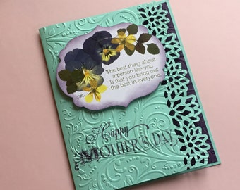 Pansy Mother's Day Card, Featuring Reproduction of Pansies, Embellished with Die Cut Flower Edge and Paper Embossing,Optional Interior Poems