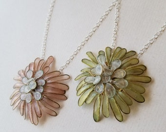 """Dahlia Necklace, Small : Brass and Handmade Paper Petals, Hand-Dyed, Sterling Silver 18"""" Chain and Handmade Silver Clasp"""