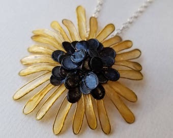 """Black Eyed Susan Necklace : Small or Large, Brass and Handmade Paper Petals, Hand-Dyed, Sterling Silver 18"""" Chain and Handmade Silver Clasp"""
