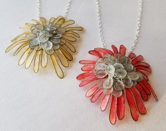 """Dahlia Necklace, Large : Brass and Handmade Paper Petals, Hand-Dyed, Sterling Silver 18"""" Chain and Handmade Silver Clasp"""