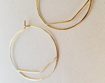 Chevron Hoops, Medium : Sterling Silver or Brass Hoop Earrings, Hammered by Hand