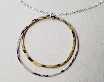 Speckled Saturn Necklace : Silver & Brass