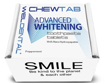 Chewtab Advanced Whitening Toothpaste Tablets with Nano-Hydroxyapatite, Peppermint 180 Count Refill