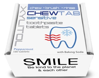 Chewtab Toothpaste Tablets,  Sensitive Teeth Peppermint 180 Count Refill