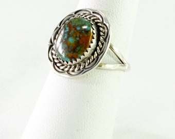Green Turquoise Sterling Silver Ring Size 6.5