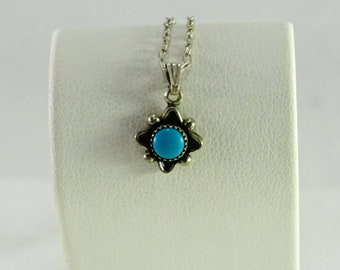 """Petite Turquoise Sterling Necklace 14"""""""