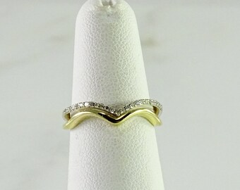 10K Gold Diamond Stack Band Ring Size 5