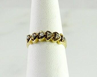 10K Gold 6 Diamond Stack Ring Size 5.5