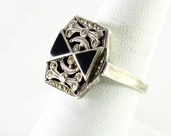 Art Deco Onyx Marcasite Ring Size 8.5