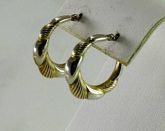 Sterling / Gilt Two Tone Pierced Earrings