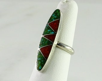 Inlaid Turquoise Coral Mosaic Sterling Ring Size 5.5