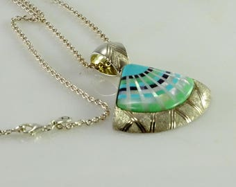 """Inlaid Sterling Pendant on a 28"""" Sterling Chain"""