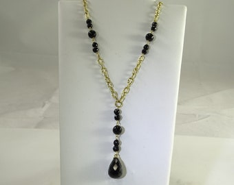 """14K Gold with Faceted Black Onyx Beads 16"""" plus Drop"""